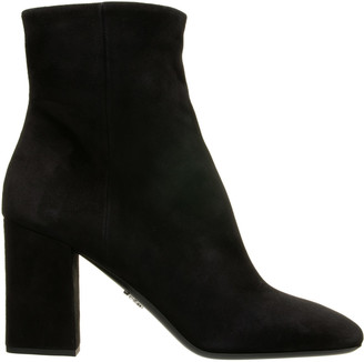 Prada Zip Leather Ankle Boot
