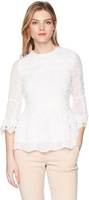 Nicole Miller Women's LACE 3/4 Sleeve Blouse