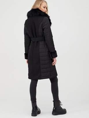 River Island Faux Fur Cuff Hybrid Coat - Black