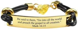 Pink Box Genuine Leather Scripture Bracelet with Crystals from Swarovski Mark 16:15 Gold