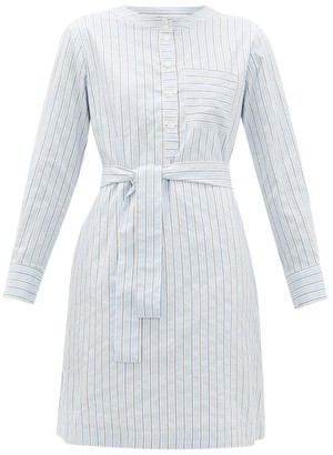 A.P.C. Cyrielle Striped Cotton-poplin Shirt Dress - Light Blue