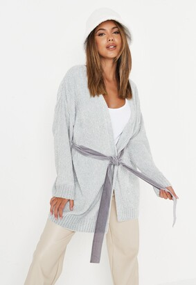 Missguided Grey Chenille Belted Cardigan