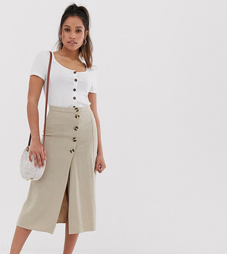 New Look Petite button down skirt in stone-Blue