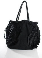 Elie Tahari Black Ruffled Large Shoulder Handbag