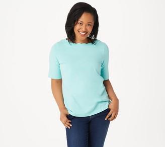 Denim & Co. Essentials Perfect Jersey Top w/ Scallop Neckline