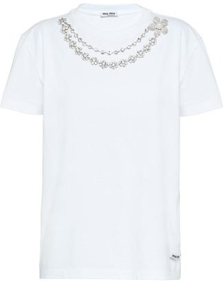 Miu Miu embellished jersey T-shirt