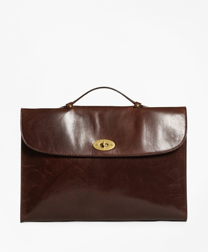 Brooks Brothers Distressed Leather Briefcase