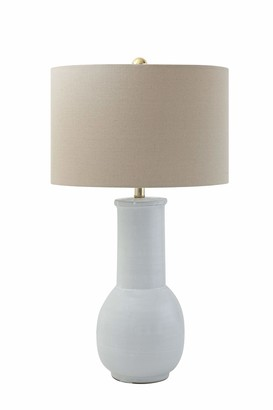 Creative Co-op White Terracotta Table Lamp with Natural Linen Shade
