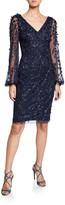 Theia Beaded Petal Embellished V-Neck Lantern-Sleeve Sheath Dress