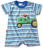 Le Top Down on the Farm Stripe Romper (Infant) (Summer Sky) - Apparel