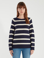Sail to Sable Stripe Side Button Crewneck Sweater