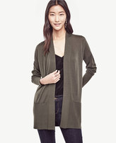 Ann Taylor Wool Blend Pocket Open Cardigan
