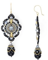 Miguel Ases Swarovski Crystal & Onyx Double Drop Earrings