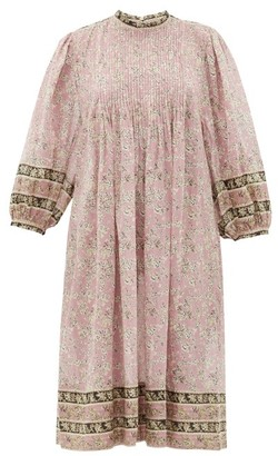 Etoile Isabel Marant Vanille Pintucked Floral-print Cotton Dress - Womens - Pink Multi