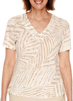 Alfred Dunner Sanibel Island Short-Sleeve Palm Print Top
