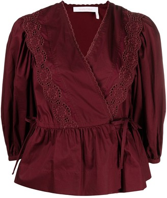 See by Chloe Broderie Anglaise Wrap Blouse