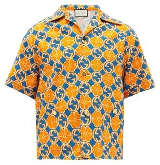 Gucci GG And Floral-print Cotton-poplin Shirt - Orange Multi