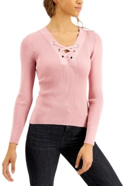 Planet Gold Juniors' Lace-Up Sweater