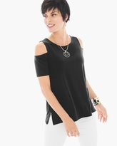 Chico's Knit Cold-Shoulder Top in Black