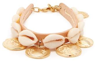Ancient Greek Sandals Puka Shell And Coin-charm Leather Anklet - Womens - Beige
