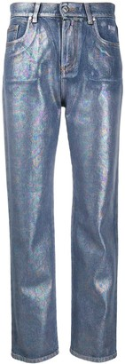 MSGM metallic straight jeans