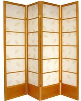 Oriental Furniture Asian Home Decor 6-Feet Botanic Solid Bottom Japanese Folding Privacy Screen Room Divider