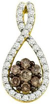 DazzlingRock Collection 0.39 Carat (ctw) 10k Yellow Gold White & Diamond Ladies Cluster Pendant