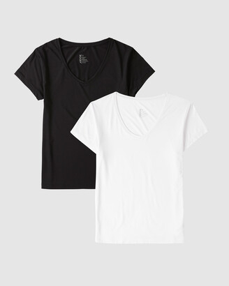 Boody Organic Bamboo Eco Wear - Women's Black Basic T-Shirts - 2 Pack V-Neck T-Shirt - Size One Size, S at The Iconic