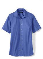 Lands' End Women's Regular Short Sleeve Broadcloth Shirt-Black