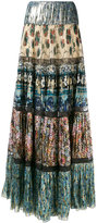 Roberto Cavalli patch pleated maxi skirt - women - Silk/Polyester - 44
