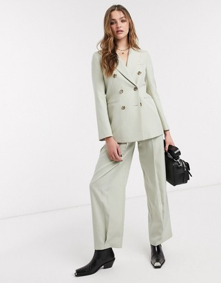 Topshop tailored pants co-ord in pale green