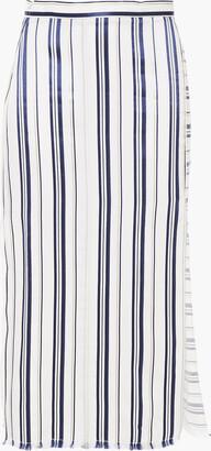 Altuzarra Satin-trimmed Striped Twill Midi Skirt