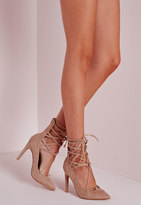 Missguided Lace Up Stiletto Heeled Shoes Nude