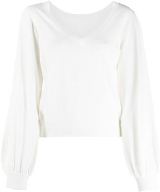 P.A.R.O.S.H. puff-sleeve V-neck jumper