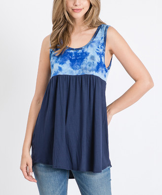 Cool Melon Women's Tank Tops Navy - Navy Tie-Dye Color Block Sleeveless Tunic - Women & Plus
