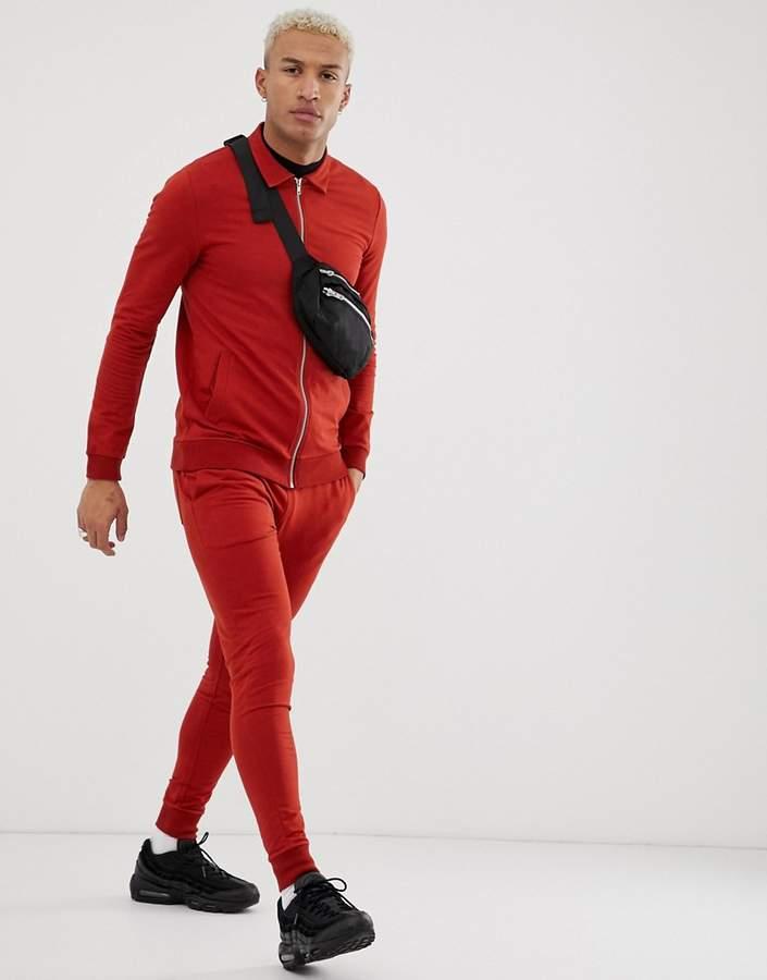 Asos Design DESIGN tracksuit muscle harrington / skinny sweatpants in rust
