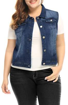 Unique Bargains Women's Plus Size Chest Pockets Single Breasted Denim Vest
