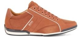 BOSS Low-top trainers in mixed leather with perforated panels