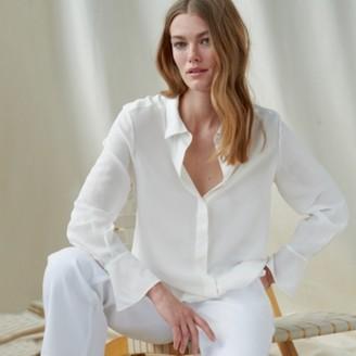 The White Company Silk Split-Cuff Blouse, Ivory, 6