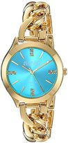 August Steiner Women's Genuine Diamond Gold-Tone Case with Turquoise Dial and Gold-Tone Steel Chain Link Bracelet Watch AS8222YGTQ