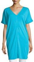 Joan Vass Long Cotton Interlock Tunic, Turquoise