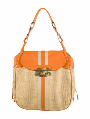 Prada Lizard-Trimmed Woven Straw Bag Natural
