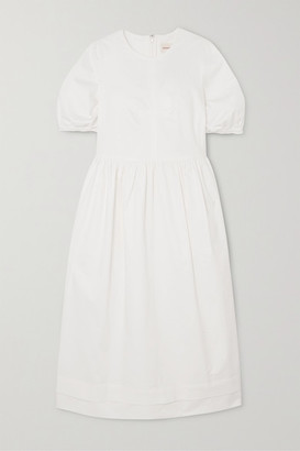 &Daughter Dawn Stretch-cotton Twill Midi Dress - White