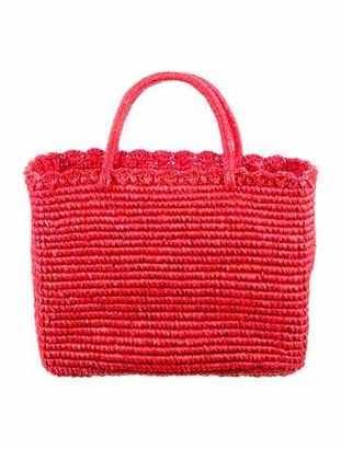 Sensi Canasta Seashell Straw Tote Red