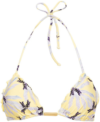 Vix Paula Hermanny Ruffle-trimmed Printed Triangle Bikini Top