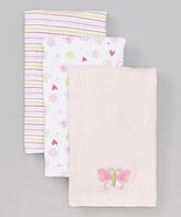 SpaSilk Pink Butterfly Burp Cloth Set