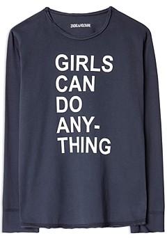 Zadig & Voltaire Girls' Anie Cotton Graphic Long Sleeve Tee - Little Kid, Big Kid