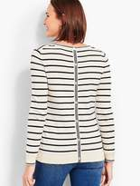 Talbots Getaway Button-Back Crewneck Sweater