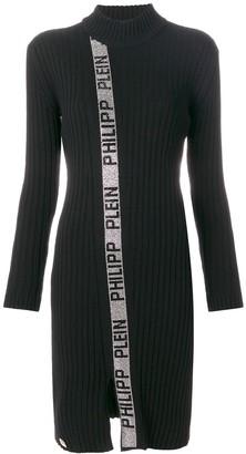 Philipp Plein Funnel Neck Rib Knit Metallic Trimmed Dress