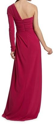 Monique Lhuillier Asymmetric Square Neckline Gown